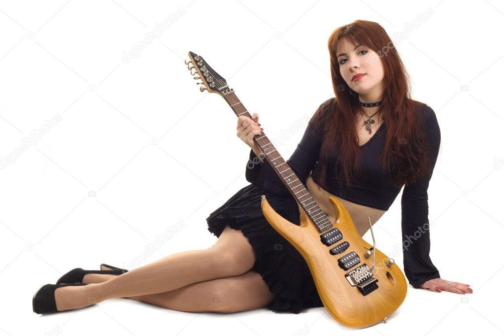 Девушка С Электрической Гитарой  Стоковое -3562