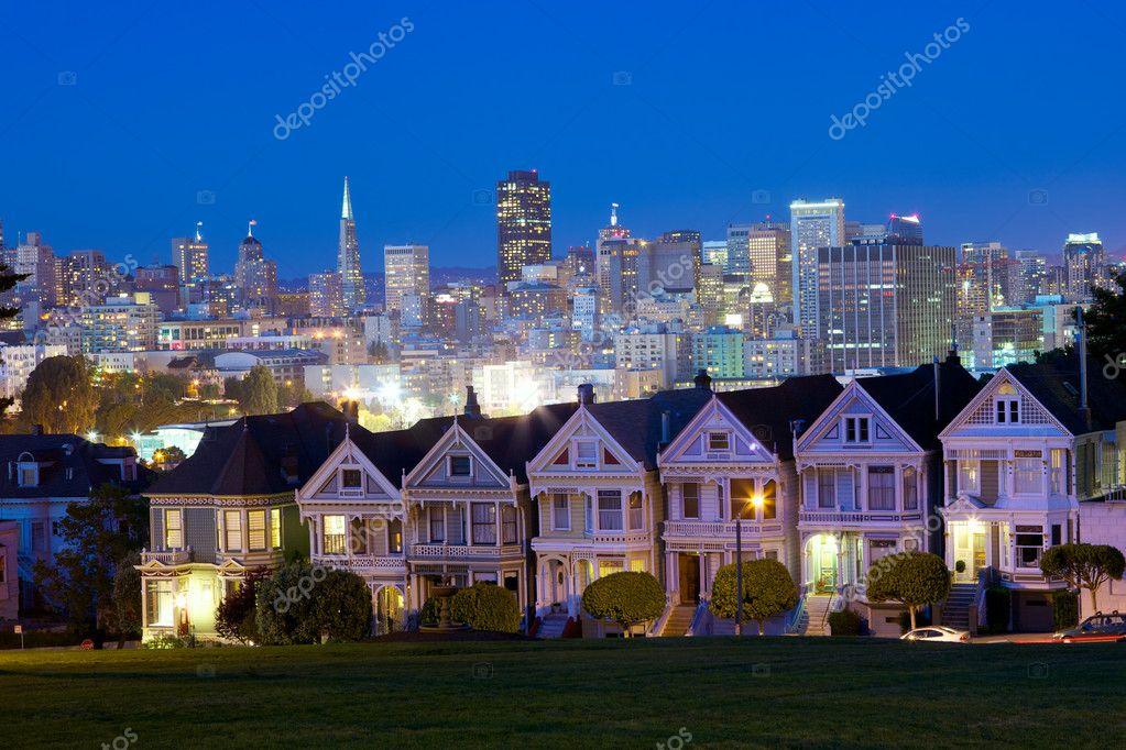 Alamo square and San Francisco skyline, California, USA
