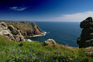 A beautiful spring day looking over the sea from near Carn Boel on the Lands End peninsula West Cornwall. Bluebells are carpeting the areas of cliff. stock vector