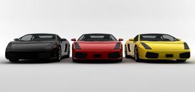 Three colored cars