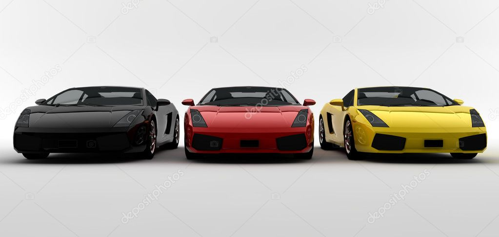 Three colored cars