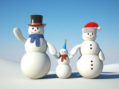 Snowman's happy family