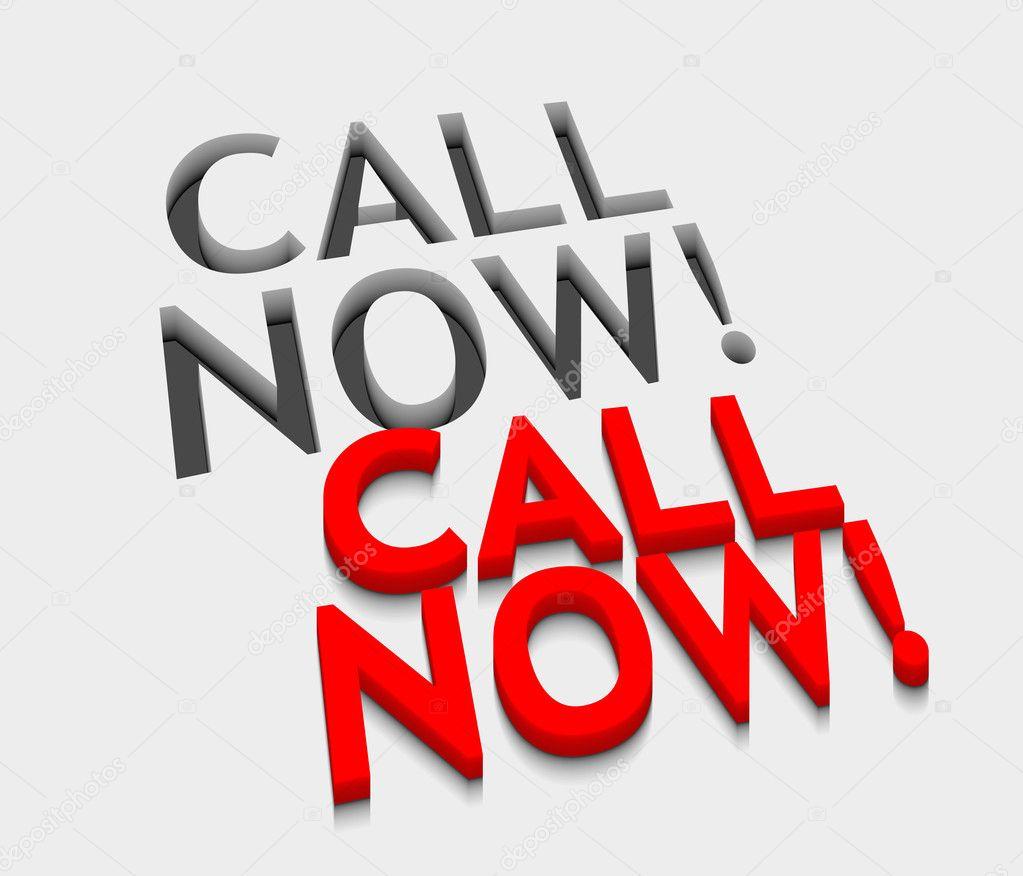 3d vector call now text design