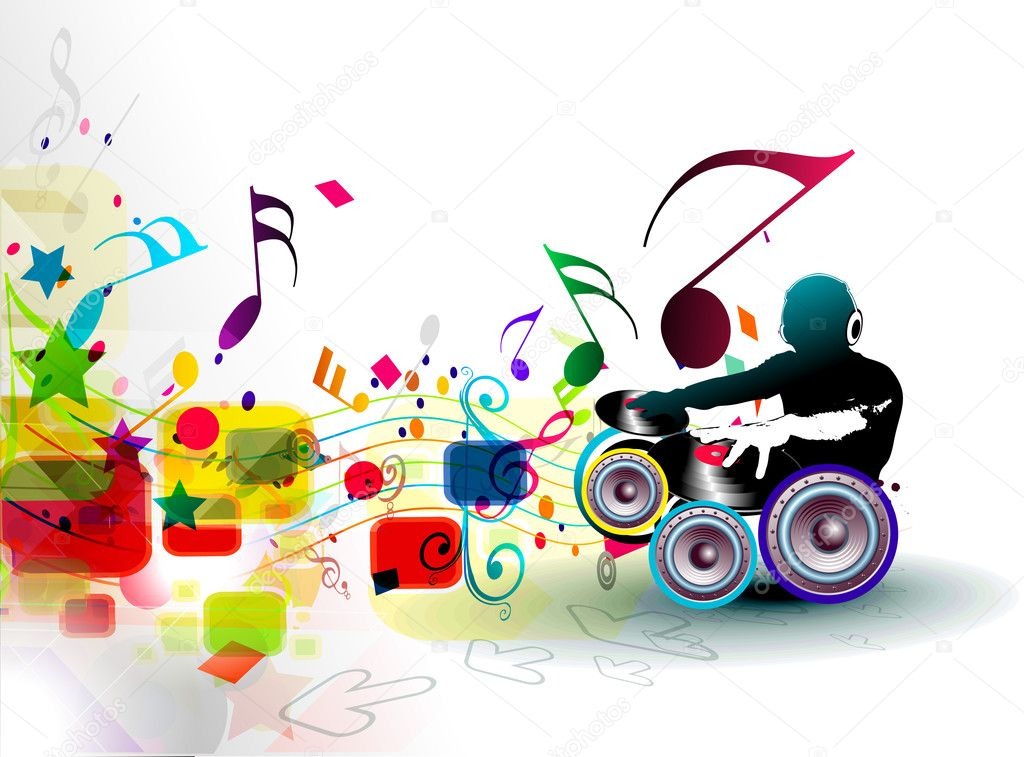 Abstract Vector Illustration Of An Dj Man Playing Tunes With Musics Note Background By Redshinestudio