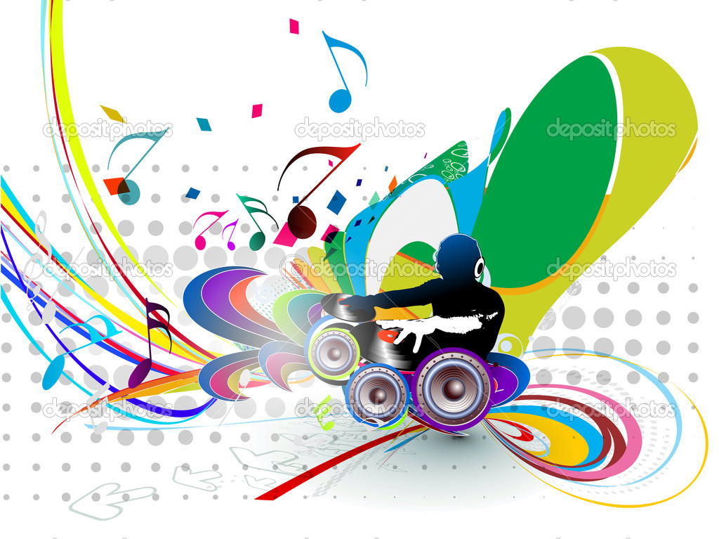 Abstract Vector Illustration Of An Dj Man Playing Tunes With Music Note Background By Redshinestudio