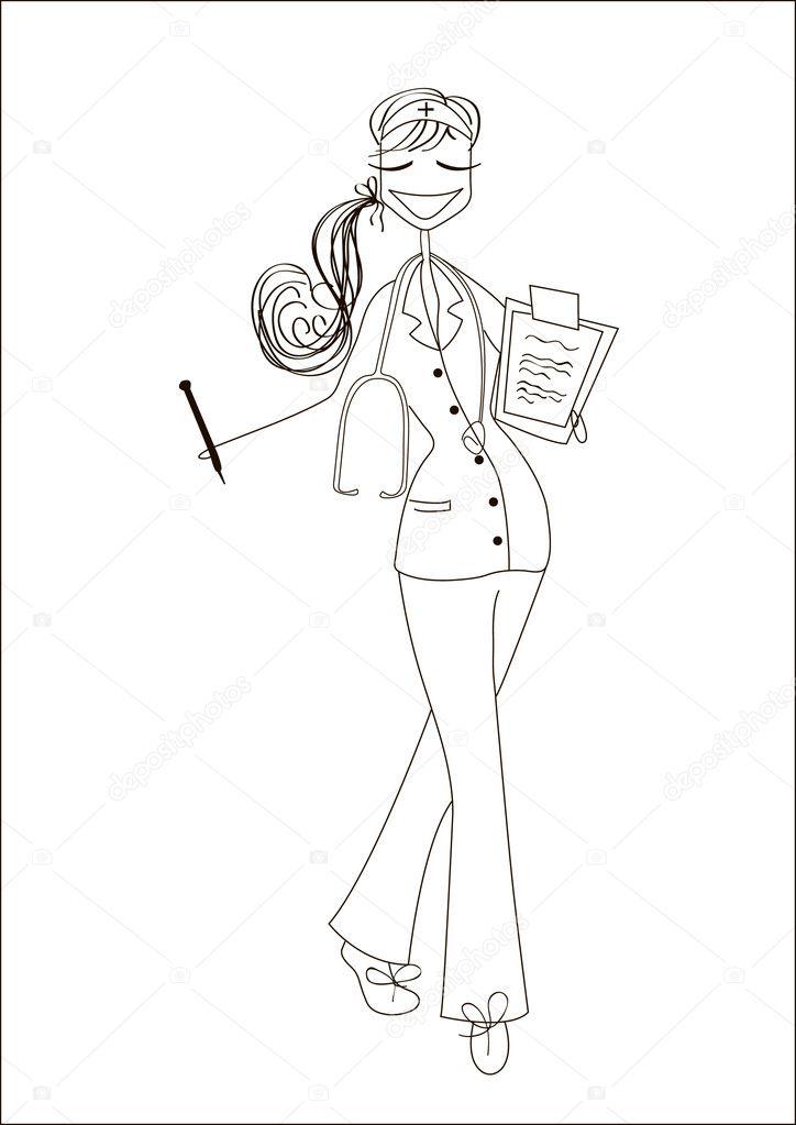 enfermera de dibujos animados — Archivo Imágenes Vectoriales ...