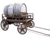 Wooden cart with a keg.