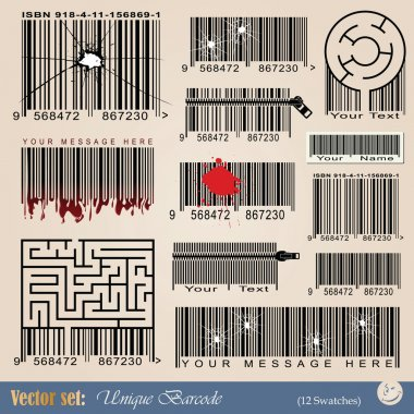 Vector set: unique abstract barcodes for tattoo and design stock vector
