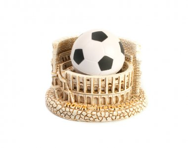 The Colosseum in Rome and football soccer ball