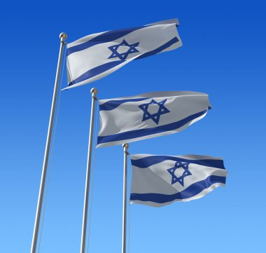 Flags of Israel against blue sky.