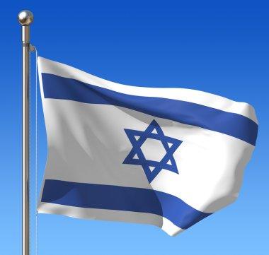 Flag of Israel against blue sky.