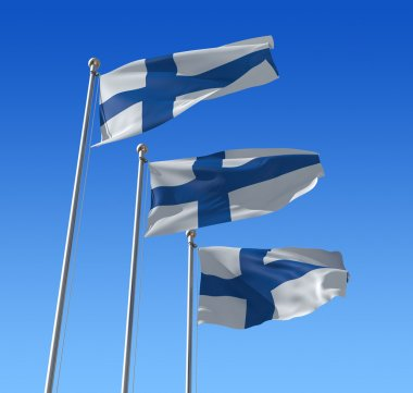 Flags of Finland against blue sky.