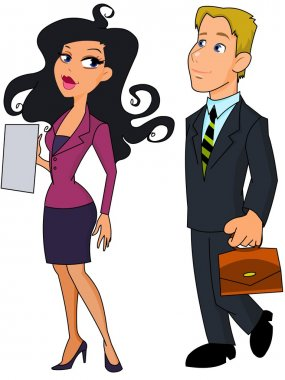 Business woman and business man Note to editor:
