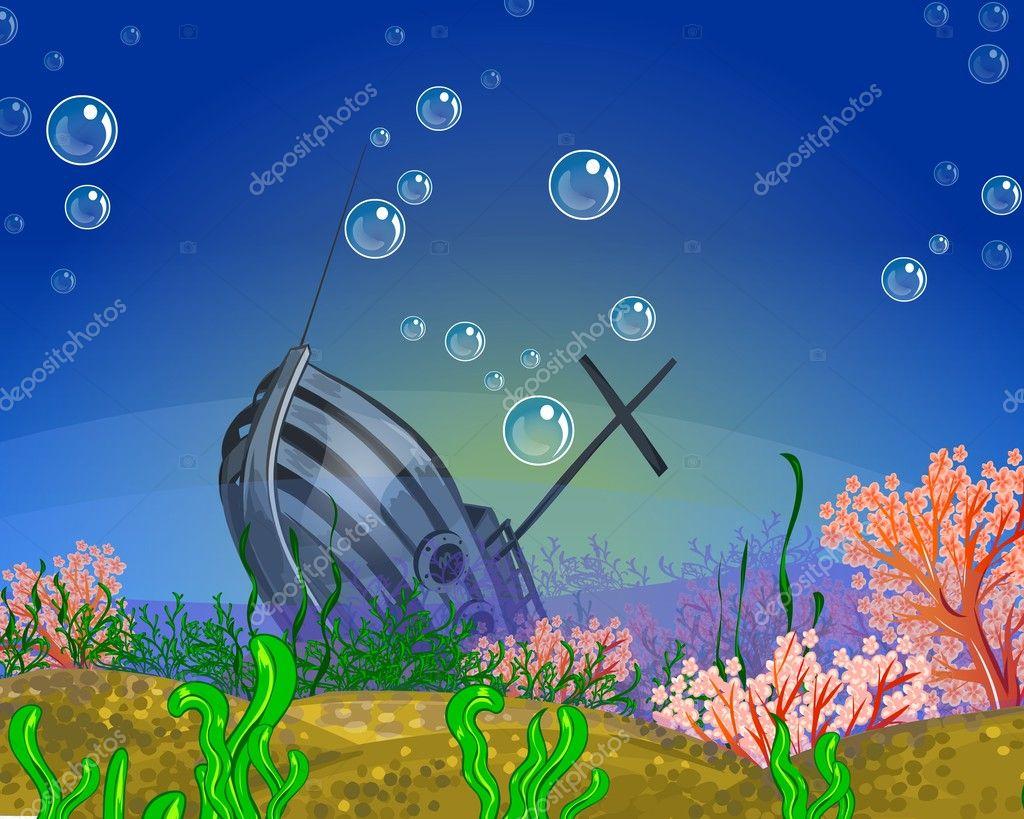 Underwater background. Shipwreck.