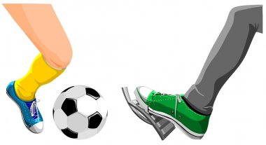 Foot with a soccer ball and foot presses on gas.
