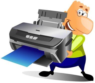 Happy man with printer