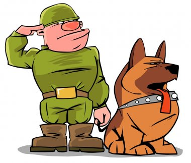 Funny military man with a dog
