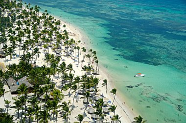 Flying over caribbean beach