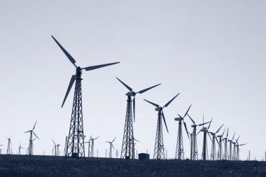 Alternative energy: wind turbines power station stock vector
