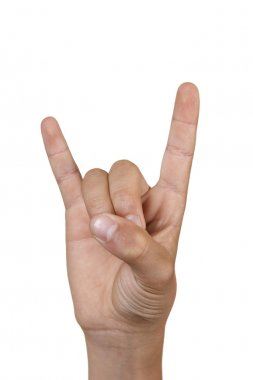 Hand making the heavy metal or satan gesture