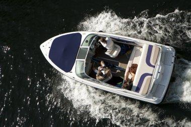 Top view at motor boat