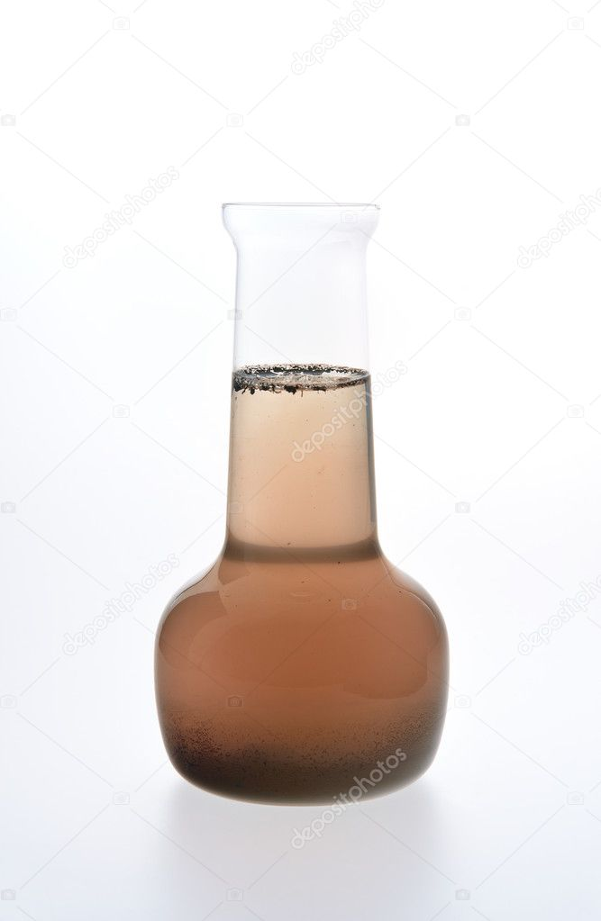 Sample of dirty water isolated on white background