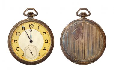 Old antique pocket watch isolated on white background. Clipping path includ