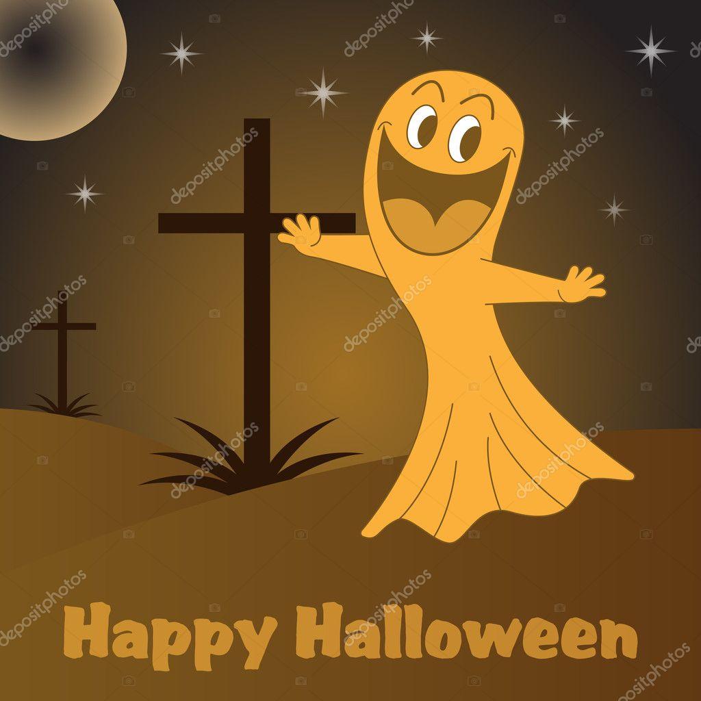 Cartone animato fantasma di halloween u vettoriali stock toots