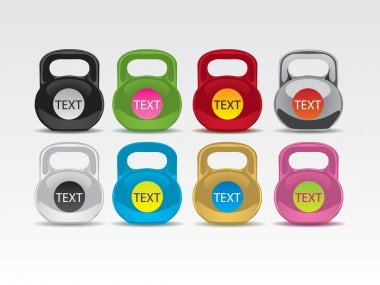 Set icons from eight multicoloured weights