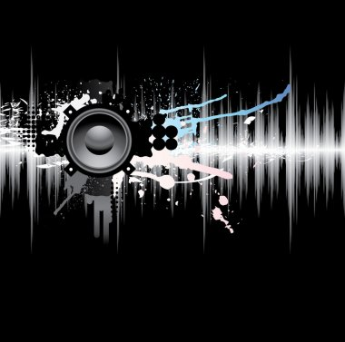 Abstract template with a sound wave and the speaker.