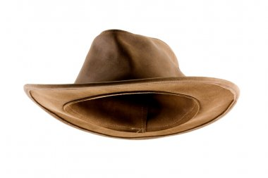 Leather bush hat isolated on white