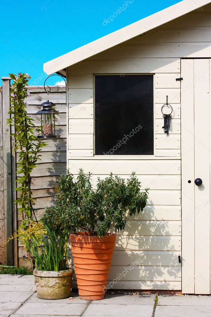 Garden shed and plants in spring