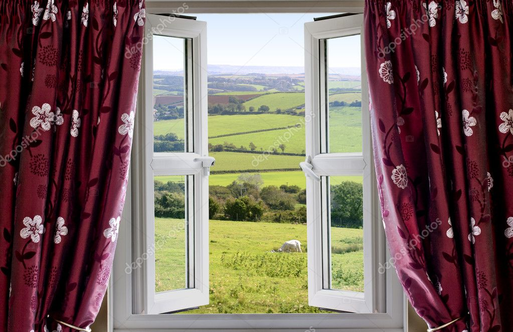 Open window with view across countryside