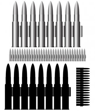 Image of the bullets - munitions - ammunition belt stock vector