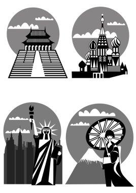 Various famous landmarks - vector