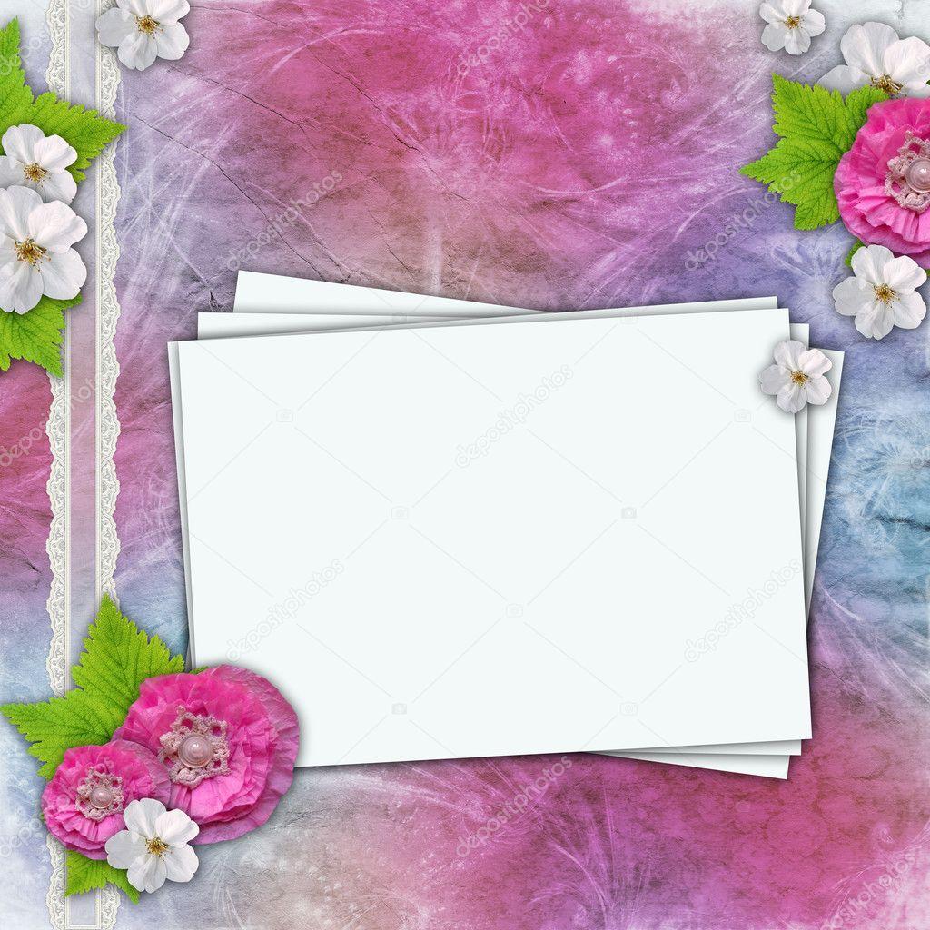 Fondo vintage con marcos para fotos flores encaje foto - Marcos vintage para fotos ...