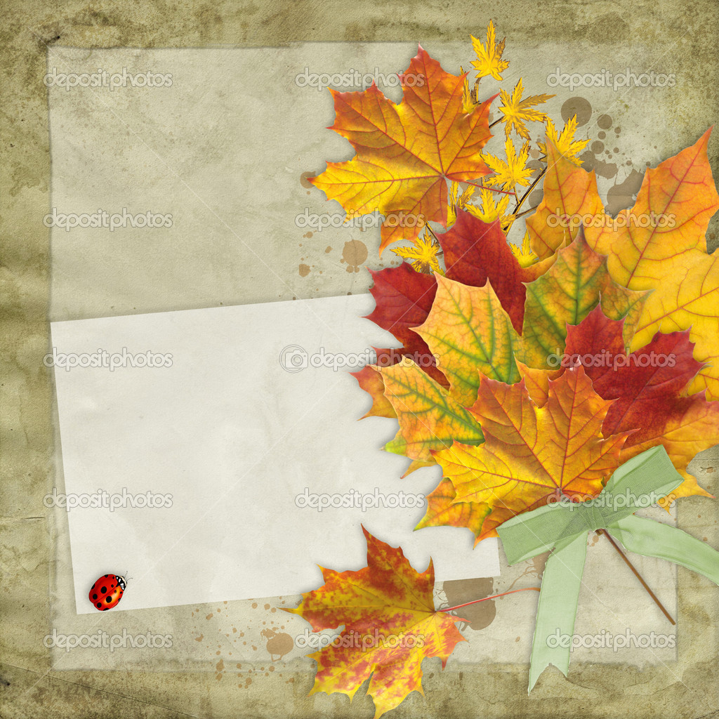 Fall leaves vintage background