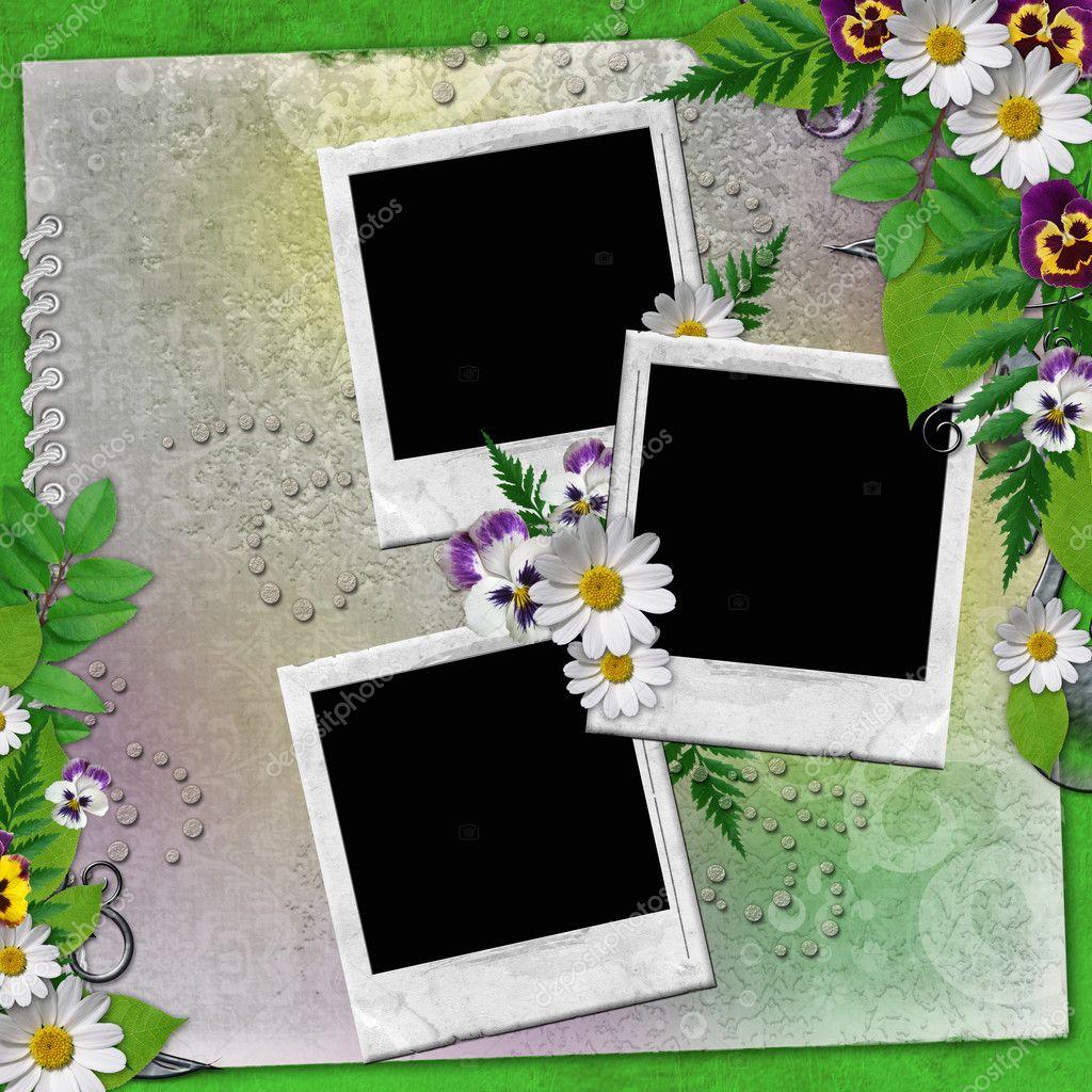 marco para tres fotos con flores de colores — Foto de stock ...