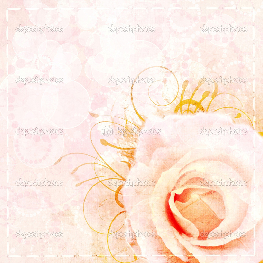 Vintage beige wedding background with rose