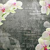 Vintage kártya orchidea rózsaszín és bézs színben