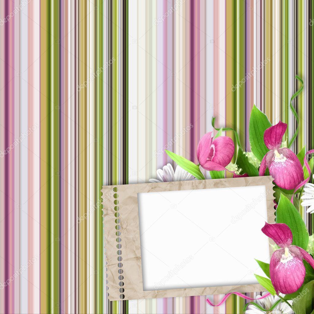 Cornice Di Carta Su Sfondo A Righe In Rosa Verde E Bianco Foto