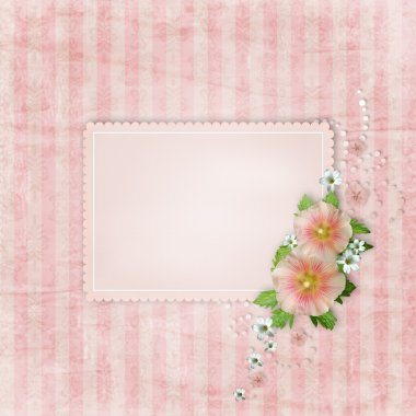 Vintage card and pink mallow