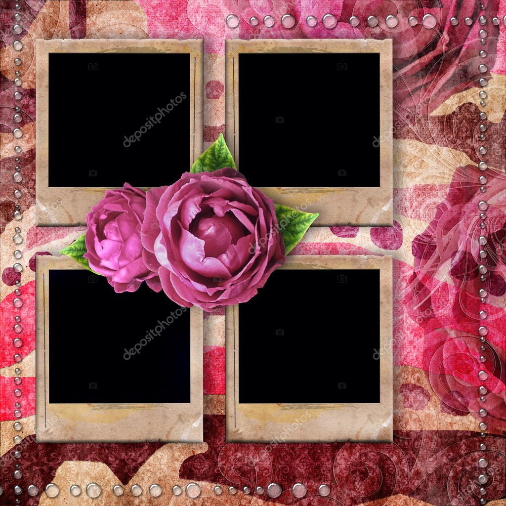 Romantic vintage background with frames, dry rose and drops — Stock ...