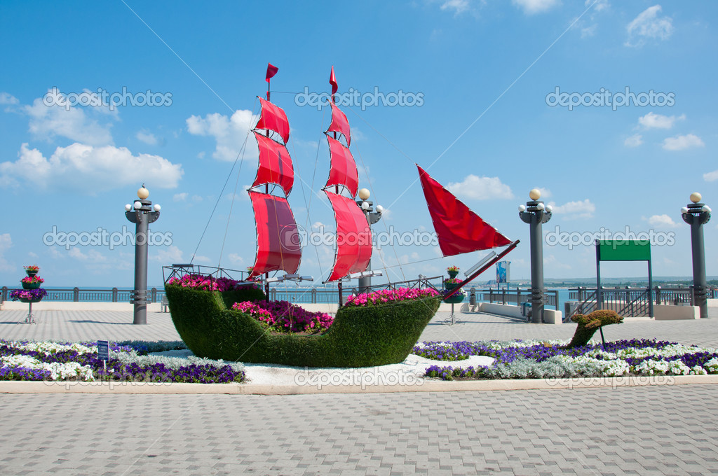 Ship with scarlet sails - vegetable sculpture