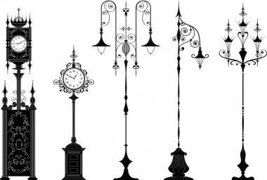 Old-fashioned street lanterns and clocks