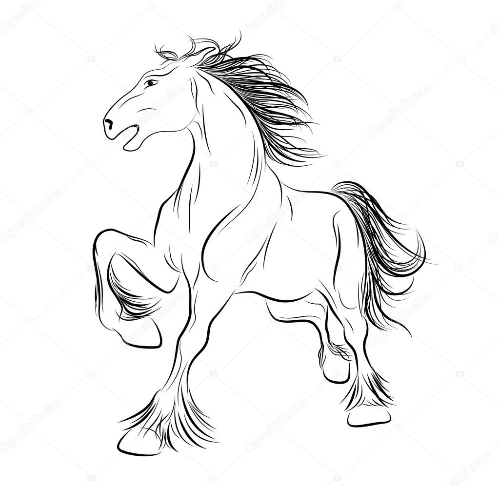 Line Drawing Horse Tattoo : Vector image a horse tattoo — stock maristep