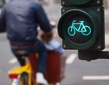 Traffic light bike sign