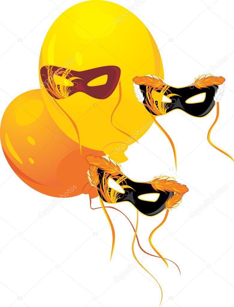 Masquerade masks and yellow balloons