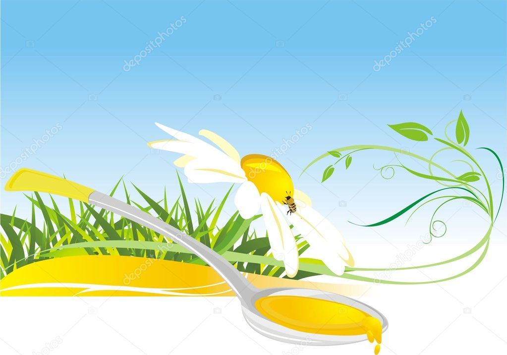 Floral honey. Composition for card