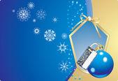 blaue Kugel und Schneeflocken im dekorativen Rahmen mit Schleife. Weihnachtskarte
